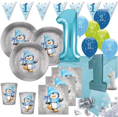 XXL 71 Teile Erster Geburtstag Party Deko Set Pinguin Junge 16 Personen 1. Gebur ()