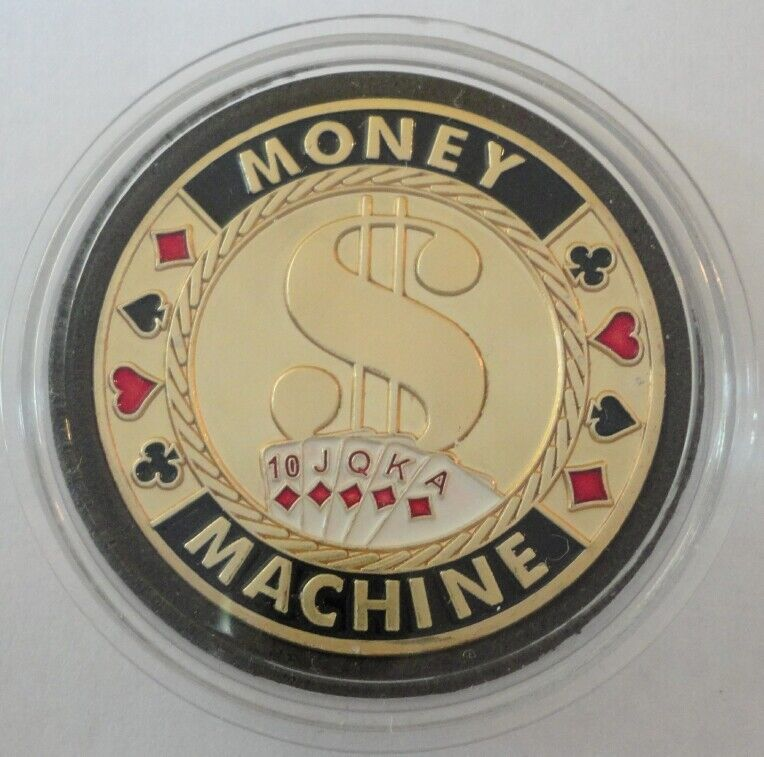 MONEY MACHINE gold color Poker Card Guard Protector