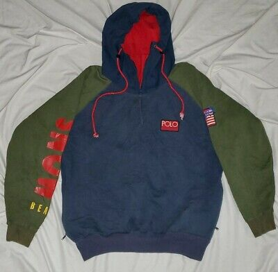 Vtg Polo Ralph Lauren Snow Beach Pullover Hooded Jacket hoodie 93 P-Wing rare M