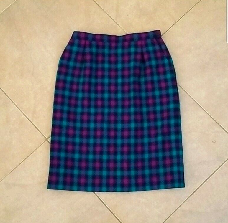 Vintage Pendleton Blue & Purple Virgin Wool Pencil Skirt