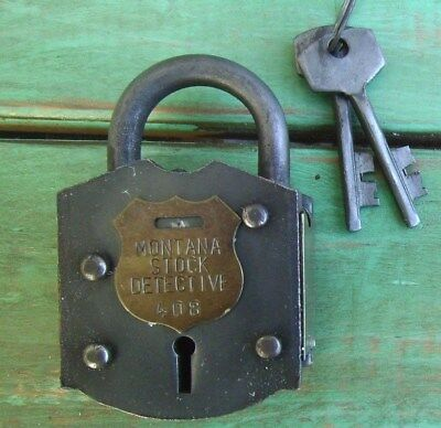 Old West Iron Padlock Montana Stock Detective Strong Box Gun Gate Lock 408