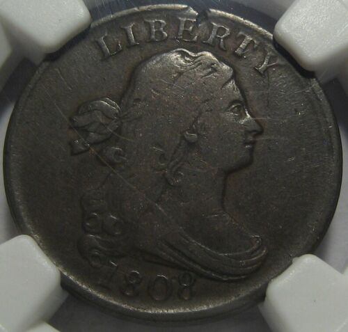 = 1808 NGC F12 FINE Half Cent, Nice Details, Certified, FREE Shipping