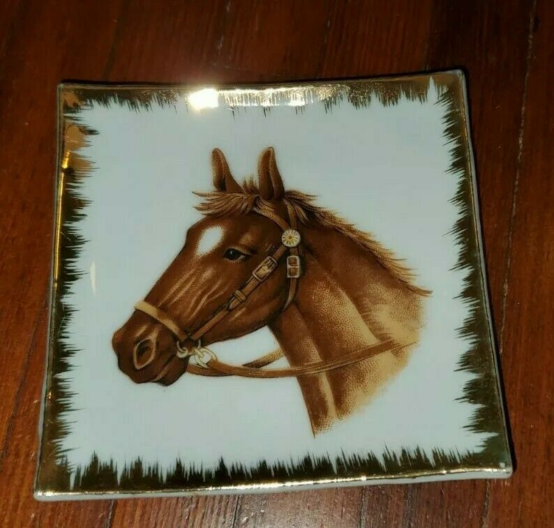 Bradley Exclusives Horse Sm Square Wall Plate Trinket Dish Gold Trim Japan Nice