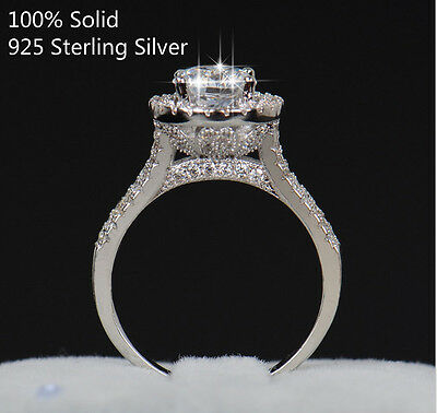 100% Solid 925 Sterling Silver Radiant Moissanite Engagement