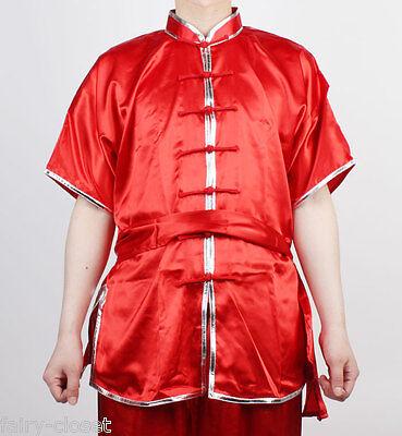 Wushu KungFu Uniform SizeS ChangQuan Uniforms Taichi Kung Fu RED Silver trim