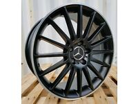 "NEW 18"" MERCEDES C63 AMG BLACK EDITION ALLOY WHEELS X4 BOXED 5X112 C E CLASS COUPE VITO VAN C220"