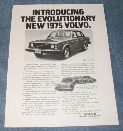 """1975 Volvo 244 Vintage Ad """"Introducing the Evolutionary New 1975 Volvo"""""""
