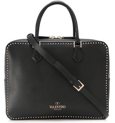 NEW VALENTINO GARAVANI CURRENT BLACK LEATHER MICRO ROCKSTUD TOP HANDLE BAG