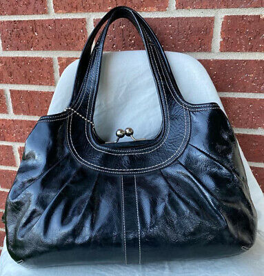 COACH Ergo F14381 Black Patent Leather Satchel Pleated Shoulder Bag Purse