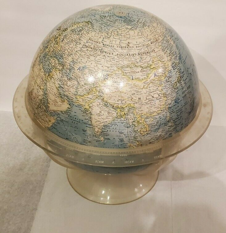 Vintage National Geographic World Globe with Acrylic Stand 1961