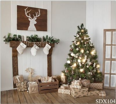 Christmas Fireplace Elk 7X5FT Vinyl Photography Backdrop Background Studio Prop](Christmas Fireplace Props)