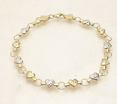 White Gold Heart Link (TwoTone Diamond Cut Heart Link Bracelet Real 10K Yellow White Gold FREE SHIPPING )
