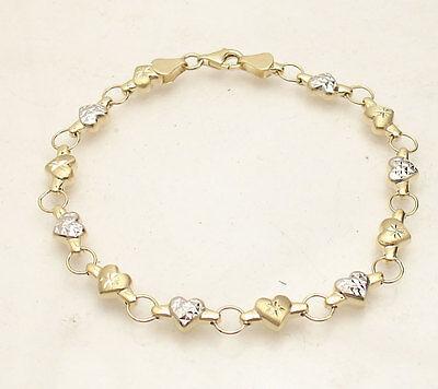 10k Gold Heart Link Bracelet - TwoTone Diamond Cut Heart Link Bracelet Real 10K Yellow White Gold FREE SHIPPING