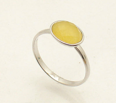 Oval Lemon Quartz Gemstone Band Ring Anti-Tarnish 925 Sterling Silver 6 7 8 -
