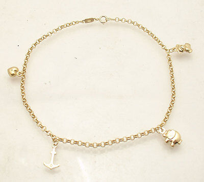 Adjustable Rolo Chain Charm Ankle Bracelet Anklet Real Solid 10K Yellow Gold