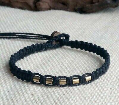 Solid Brass Bead Organic Black Hemp Bracelet Men's Unisex Adjustable Pick Size Bead Hemp Bracelet