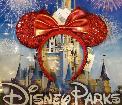 Mouse Ear Headband (NEW Disney Parks Pirate Redd Red Sequin Minnie Mouse Ears Headband)