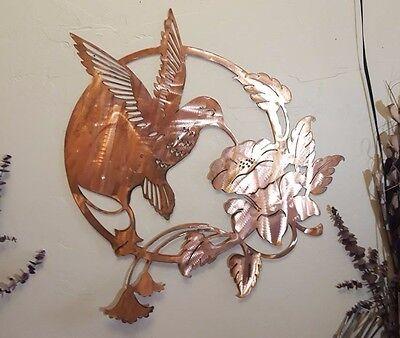 Large Hummingbird decoration bronze copper patina finish spring garden wall art -