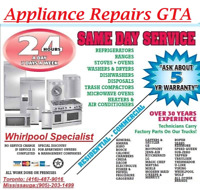 APPLIANCE REPAIR SERVICE AVAILABLE WITHIN A HOUR!!(416)-487-9016