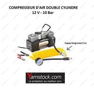 compresseur d 39 air double cylindre 12v 10 bars manometre voiture camping car ebay. Black Bedroom Furniture Sets. Home Design Ideas