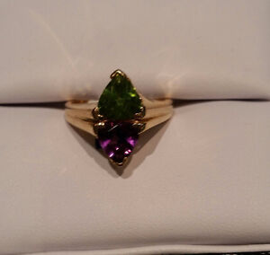 14k Yellow Gold Ring with Diamonds, Amethyst, and Peridot