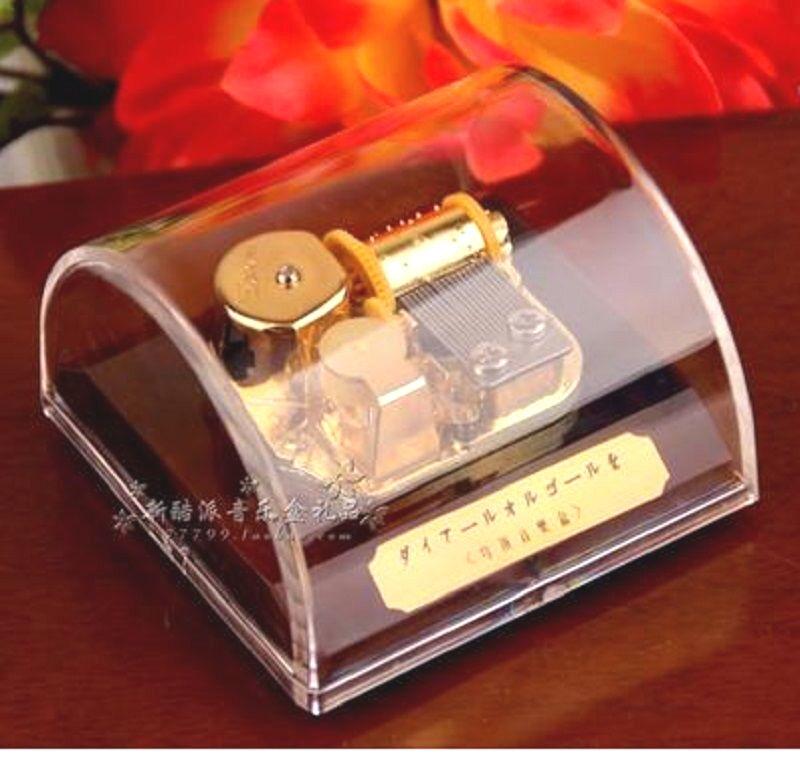 TRANSPARENT CIRCLE GOLD WIND UP MUSIC BOX Pirates of the Caribbean Davy Jones