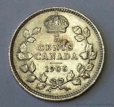 RARE BETTER DATE 1905 Canada 5 Five Cent .925 Silver Coin