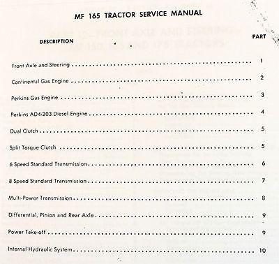 SET MASSEY FERGUSON 165 TRACTOR PARTS SERVICE REPAIR SHOP