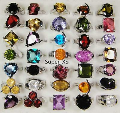 12pcs Color Crystal Zircon Silver Plated Rings Alloy Mix Wholesale Jewelry BFP