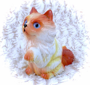 Vintage New Ray Novelty Rubber Cat Toy 1990 Orange White Tabby