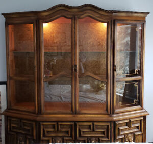 Solid Wood China Display Cabinet and Buffet Console