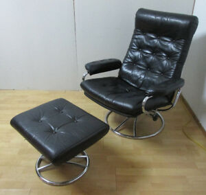 Black Leather Stressless Style Lounge Chair Recliner + Ottoman