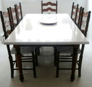 Solid Oak Harvest Table & Ladder Back Chairs