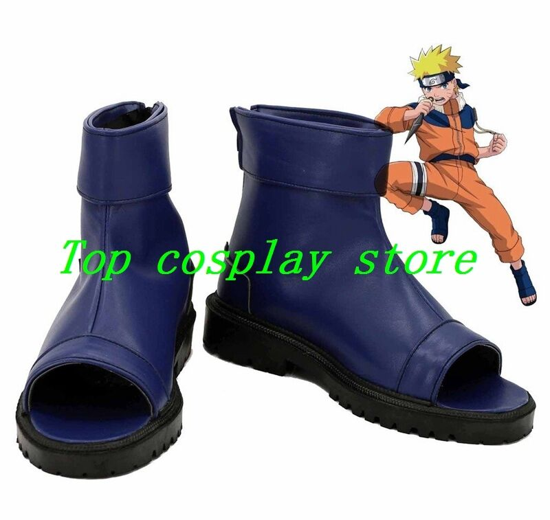 NARUTO Anime Uzumaki Naruto Ninja Cosplay Shoes Blue Boots Custom Made shoe boot