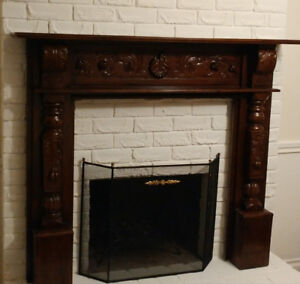 Mahogany carved fireplace mantle