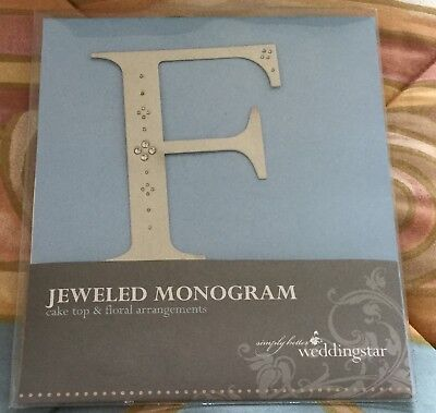 New Weddingstar Jeweled Monogram Wedding Anniversary Cake Topper Letter F