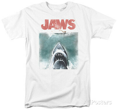 Jaws   Vintage Poster Apparel T Shirt L   White