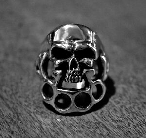 Skull and Knuckles Ring Sterling Silver