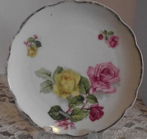ANTIQUE PLATE RED & YELLOW ROSE MOTIF