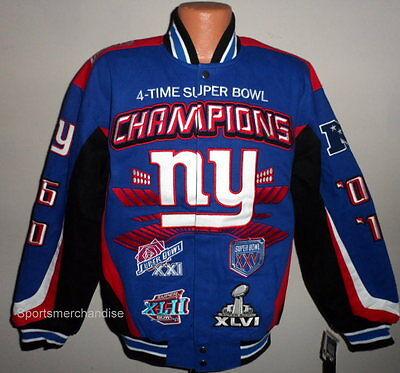 New York Giants 4  Time Super Bowl Championship Jacket Size Large Free Shipping