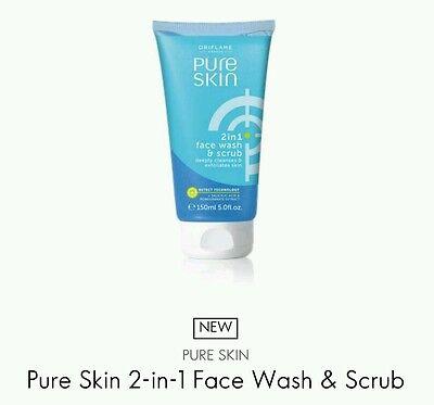 Oriflame Pure Skin 2-in-1 Face Wash & Scrub, 150ml New *Sale*