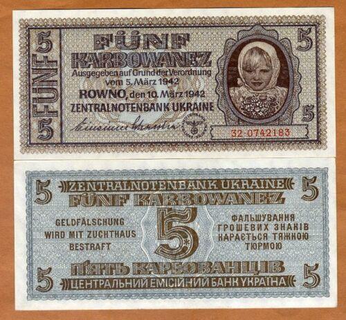 Ukraine, 5 Karbovanez 1942, P-51, WWII, German Occupation UNC