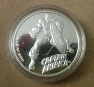MARVEL CAPTAIN AMERICA 1987 CARTOON CELEBRITIES 999 SILVER COIN RARE