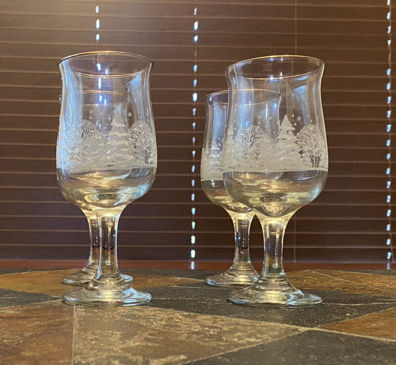 4 Libbey Christmas Winter White Frosted Pine Trees Wine Glasses Goblet Arby