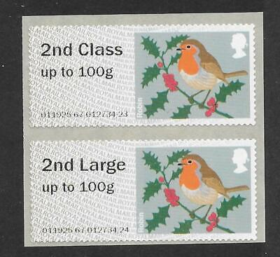 2nd class on 1st class paper Post & Go Christmas Robin MA12 set of 2. ()