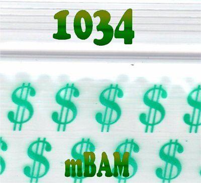 Green Dollar Sign (100 PACK GREEN DOLLAR SIGNS 1034 Apple Ziplock Baggies 1.0x.75