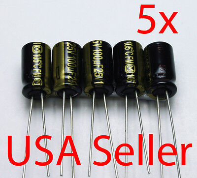 5x Panasonic Fm 100uf 25v Low-esr 105c Usa Seller