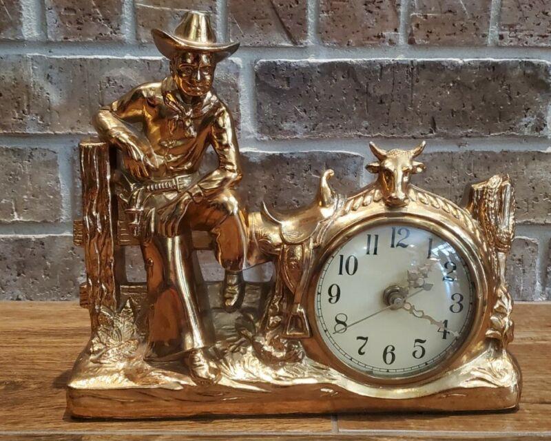 Vintage 1950 LANE &  CO. Copper Metal COWBOY STEER MANTEL CLOCK Carnival Prize