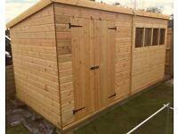 18x8 FT LARGE PENT T&G HEAVY DUTY WOODEN STORAGE SHED WORKSHOP FULLY FITTED FREE