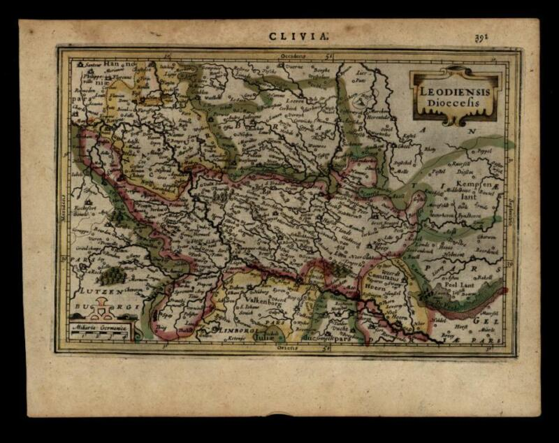 Duchy of Cleves Holy Roman Empire 1628 engraved Mercator map